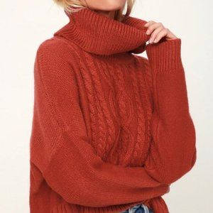 BB Dakota Burnt Orange Turtleneck Wool Sweater XS